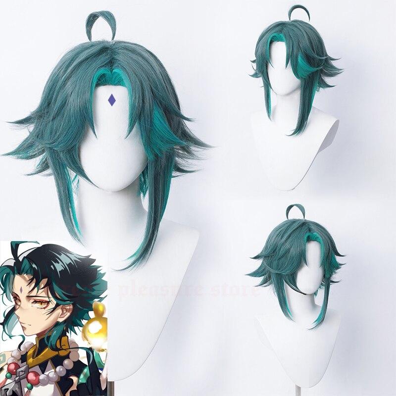 Парик для косплея Genshin Impact Xiao Pre-styling парик для косплея устойчивый к высоким температурам парик для захватывателя демонов