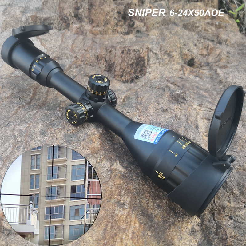 Sniper 6-24x50 AOE New Package Golden Marking Hight Quality Rifle Scope with Red,Blue and Green Illuminated for Hunting CAZA