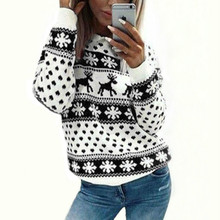 Christmas Sweater Women 2019 Winter Female Long Sleeve Knitted Animal Warm Thick Sweater Snowflake Deer Pullover Knitted Sweater slimming trendy stand collar christmas snowflake jacquard long sleeve polyester sweater for men