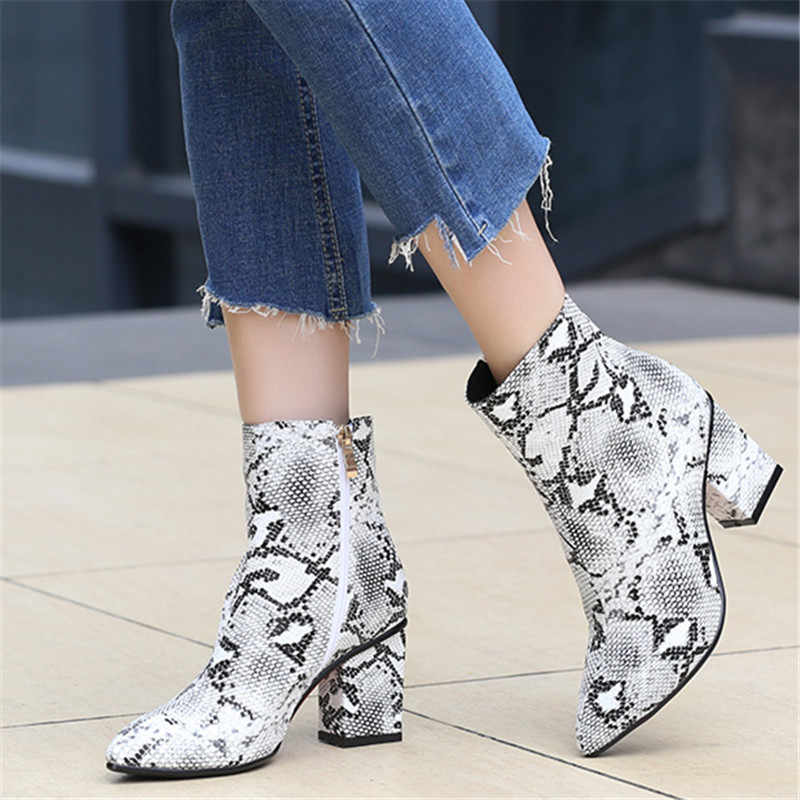ZETMTC Print Snake Pu botas de tobillo para mujer calzado