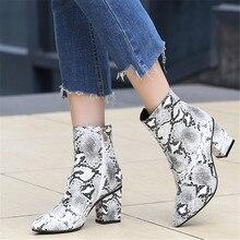 ZETMTC drukuj wąż Pu kobiety botki Zip Pointed Toe obuwie grube szpilki buty kobiece buty damskie 2019 snakeskin Bootie