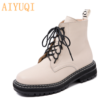 Women Shoes Short-Boots Motorcycle Female Autumn Thick Genuine-Leather Wind British AIYUQI