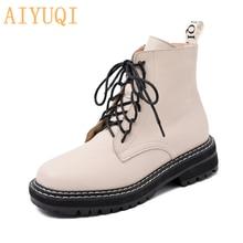 Aiyuqi botas femininas tornozelo 2021 outono vento britânico couro genuíno grosso com pele das senhoras botas curtas da motocicleta martin