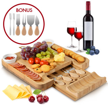 Bamboo Cheese Board Cutlery Knif Set With Slide Out Drawer 4 Knives Sets Cooking Tools Cheese Knife Cheese Slicer Fork Scoop Cut