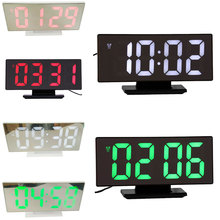 6 Colors Digital Alarm Clock LED Mirror Electronic Clocks Multifunction Large LCD Display Digital Table Clock with Calendar USB