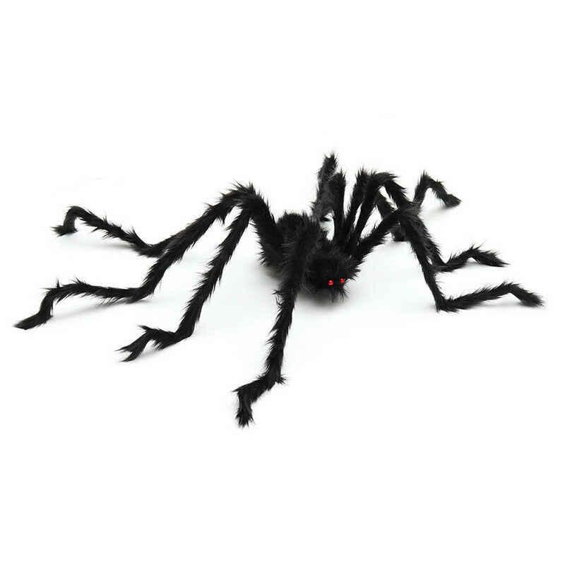 5ft/150 cm gigante aranha negra halloween decoração adereços simulação de pelúcia aranha assombrada casa prop assustador brinquedo complicado