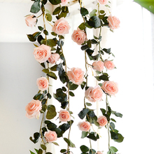 180cm Artificial Rose Flower Ivy Vine Wedding Decor Real Touch Silk Flowers String With Leaves for Home Hanging Garland
