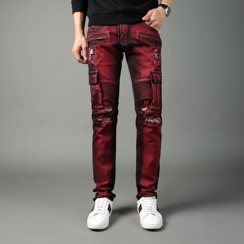 Fashion Streetwear Men Jeans Big Pocket Spliced Cargo Pants Elastic Hip Hop Trousers High Quality Brand Designer Biker Jeans Men