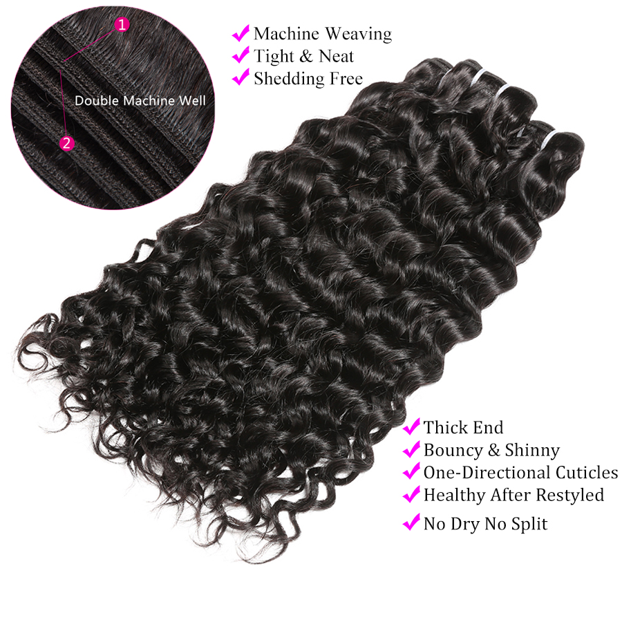 Water Wave Bundles With Closure Can Customize Into A Brazilian Water Wave Curly Wig Remy Human hair Bundles With Closure ALIPOP (4)
