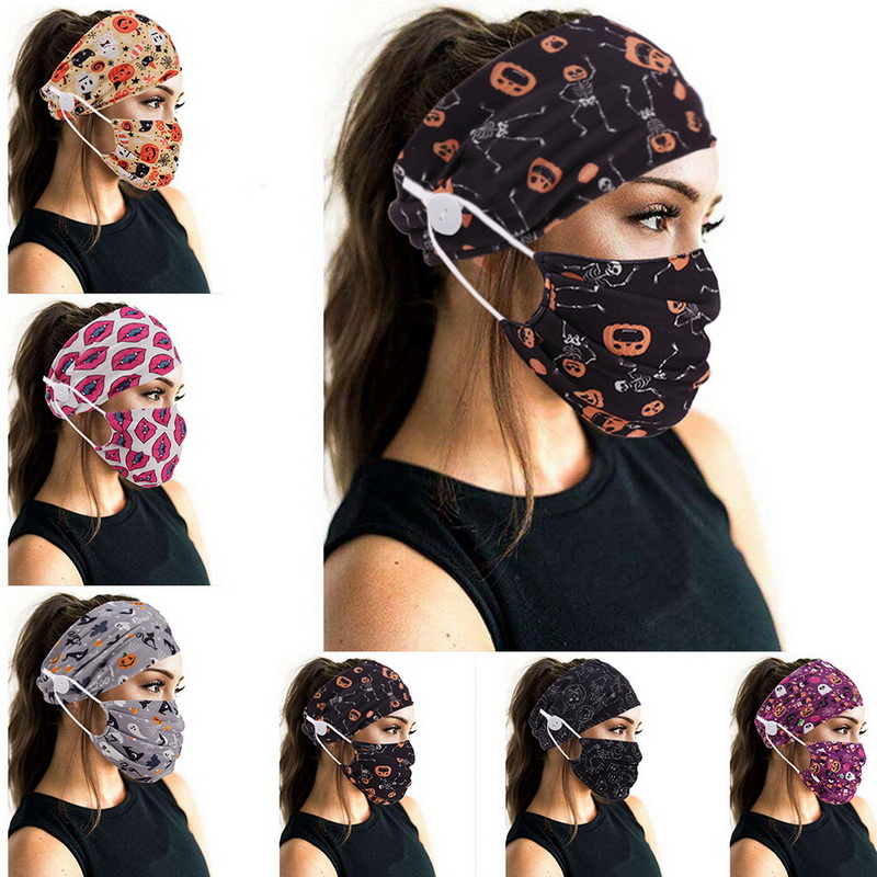 Tie-Dye Cotton Button Hair Band Printed European and American Hair Band Mask Scarf Ornament Yoga Sports Elastic Headband women(China)