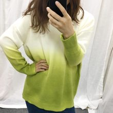 Loose Low Round Collar Gradient Set of Female Knit Print Sweater Green Jumper Woman Sweaters Pullover