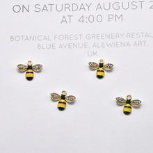 10pcs Rhinestone Bee Enamel Charms Little Bees Gold Tone Alloy Earring Pendant Fit DIY Bracelet Jewelry Accessory Handmade FX513
