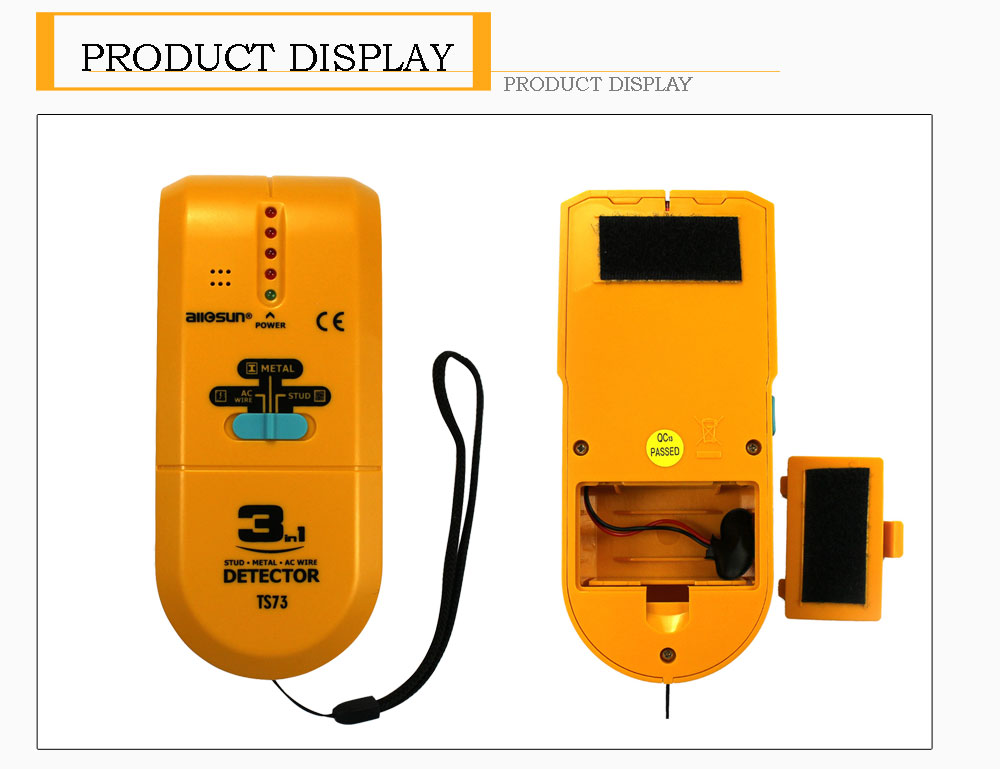 ALL-SUN TS73 Electronic Stud Finder Handheld 3 In1 Stud Metal AC Voltage Finder Multiscanner Live Wire Wall Scanner