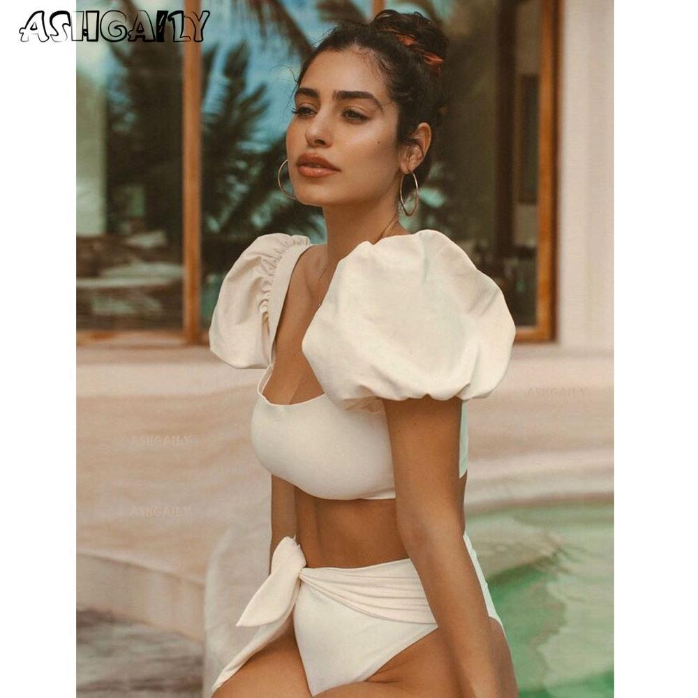 2021 New Arrival Bikini Set For Women Brazilian Biquini Bikinis Swimwear Sleeves Print Swimsuit Bathing Suit Beach Wear|Bikini Set|   - AliExpress