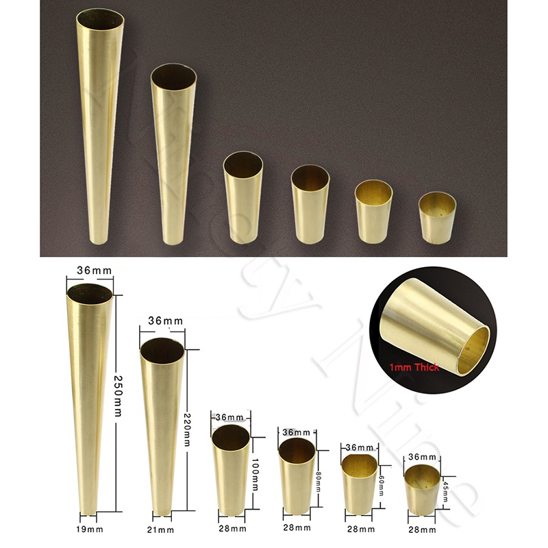 4Pcs Metal Brass Tip Cap For Mid-Century Modern Chinese Table Chair Seat Leg Feet Tapered
