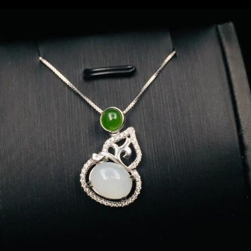 Real 925 Silver White HeTian Jade Hollow Gourd Shape Design Lucky Pendant + Chain Necklace For Women Fine Jewelry