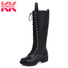 KemeKiss bottes de créateur à talon carré et bas moto, chaussures de créateur, hautes au genou, à plateforme gothique, Punk, nouvelle collection, à lacets, Size34 43