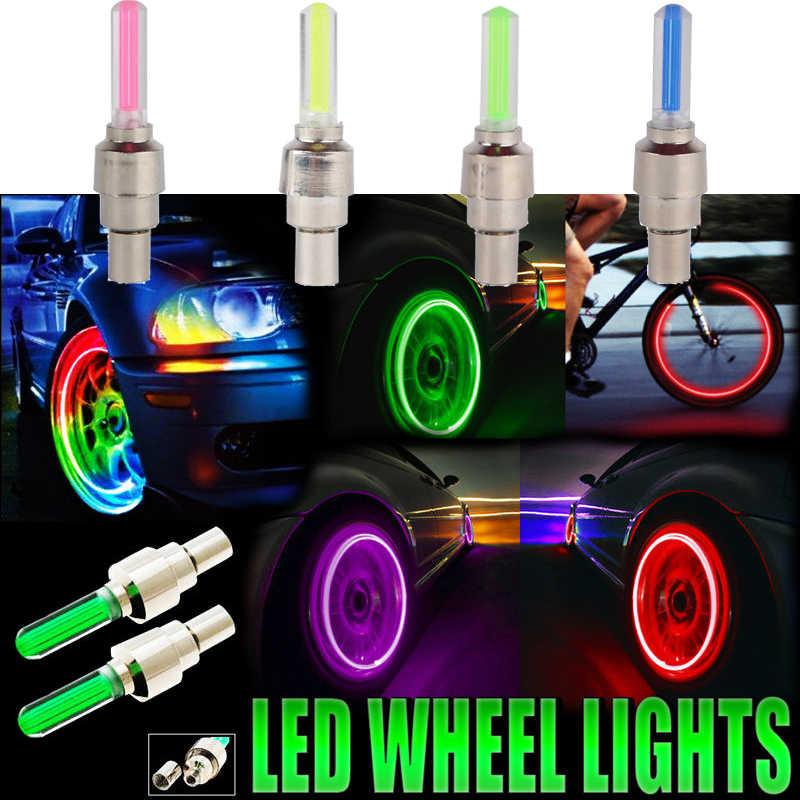 2pcs Motorcycle LED Wheel Lights Tire Valve Cap Covers For Car Mountain Bike Bicycle Wheel Night Spokes Motorcycle Styling