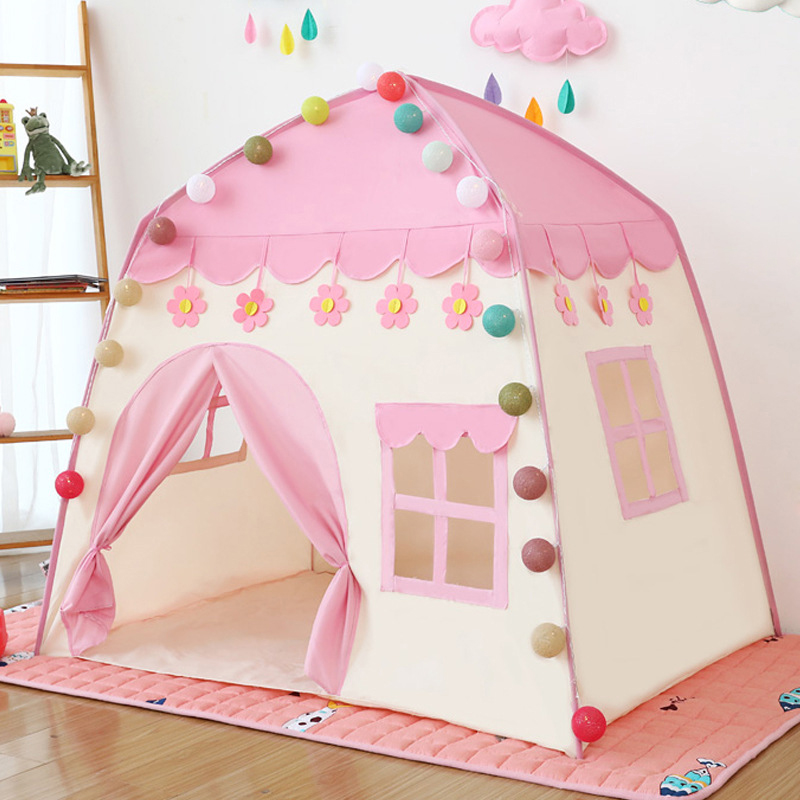 Kids Indoor Outdoor Castle Tent Baby Princess Game House Flowers Blossoming Boy Girl Oversized House Folding Game House Gifts