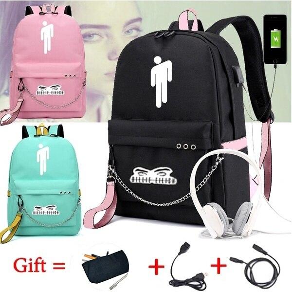 BPZMD Billie Eilish Backpack Women/Men's School Bags Laptop Travel Bags Teenage Notebook Backpack Nylon Mochila Pusheen Bag