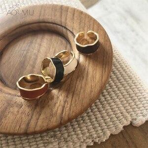 AOMU 2019 Colorful Irregular Wave Enamel Glaze Metal Opening Ring for Women Girls Party Adjustable Wedding Simple Retro Jewelry