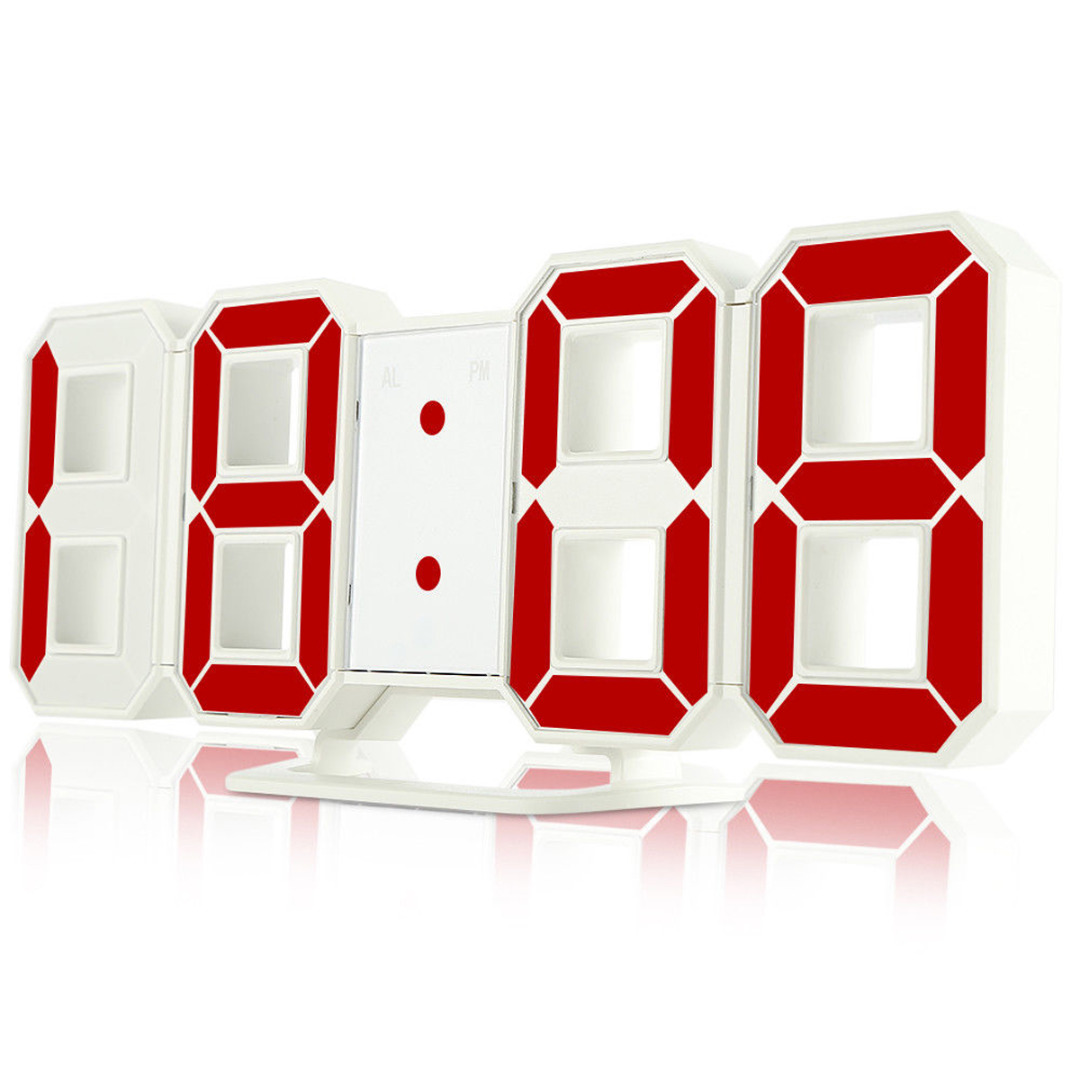 3D Digital LED Large Display Wall Clock Brightness Colorful LED Alarm Clock 12/24 Hour Display For Home Wall Decor + USB Cable