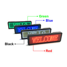 White Color Huidu Led Name Board / Badge Sign White Rechargeable Business Name Card Advetising Led Message Tag 11px*44px