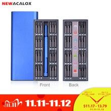 NEWACALOX Kit de reparación 48 en 1, juego de destornilladores magnéticos, herramientas de precisión, reparación de reloj de teléfono portátil con carcasa de aleación