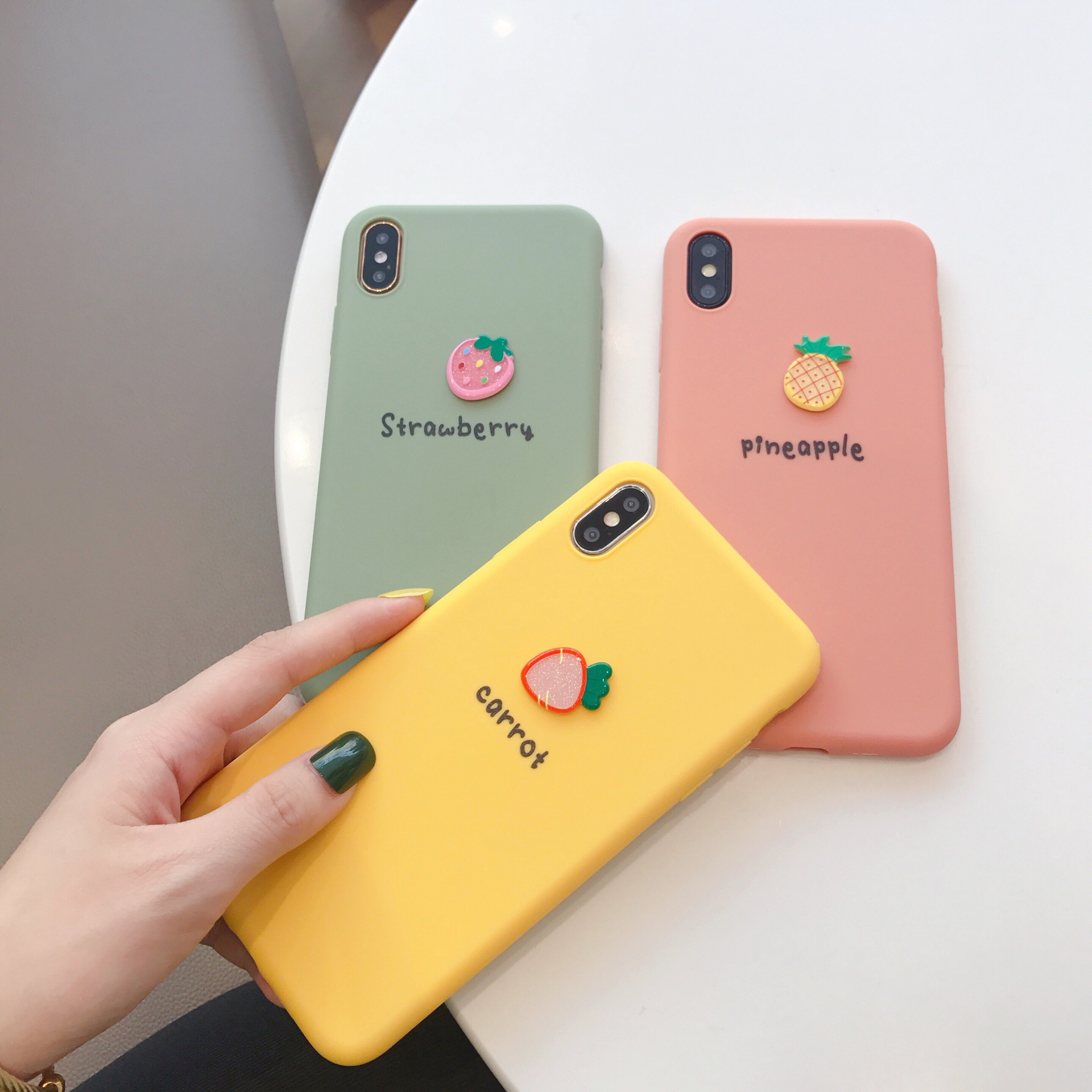 Kawaii 3D carrot Matcha tea green Strawberry cute Phone case for iPhone 7 6s 8 Plus XS Max silicon cover X XR