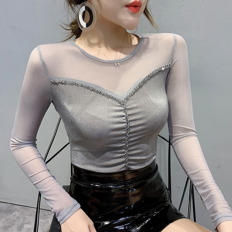 Korean Clothes Sexy Patchwork Mesh Beading T-shirt 2020 Spring Autumn Women Tops Long Sleeve Shiny Shirt Ropa Mujer Tees T9D901