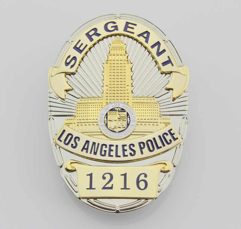 Klasik AS Sersan Polisi Los Angeles No 1216, Replika Film Prop Pin Lencana