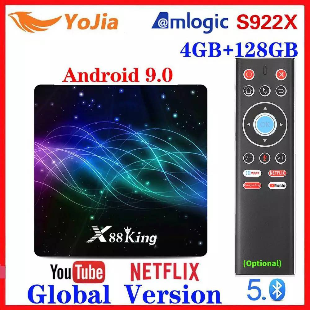 2020 4GB RAM 128G ROM Amlogic S922X TV Box Android 9.0 Dual Wifi BT5.0 1000M 4K USB3.0 Google Play Store Youtube Media Player
