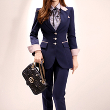 New Spring Patchwork Women Pant Suit Office Ladies Single-br
