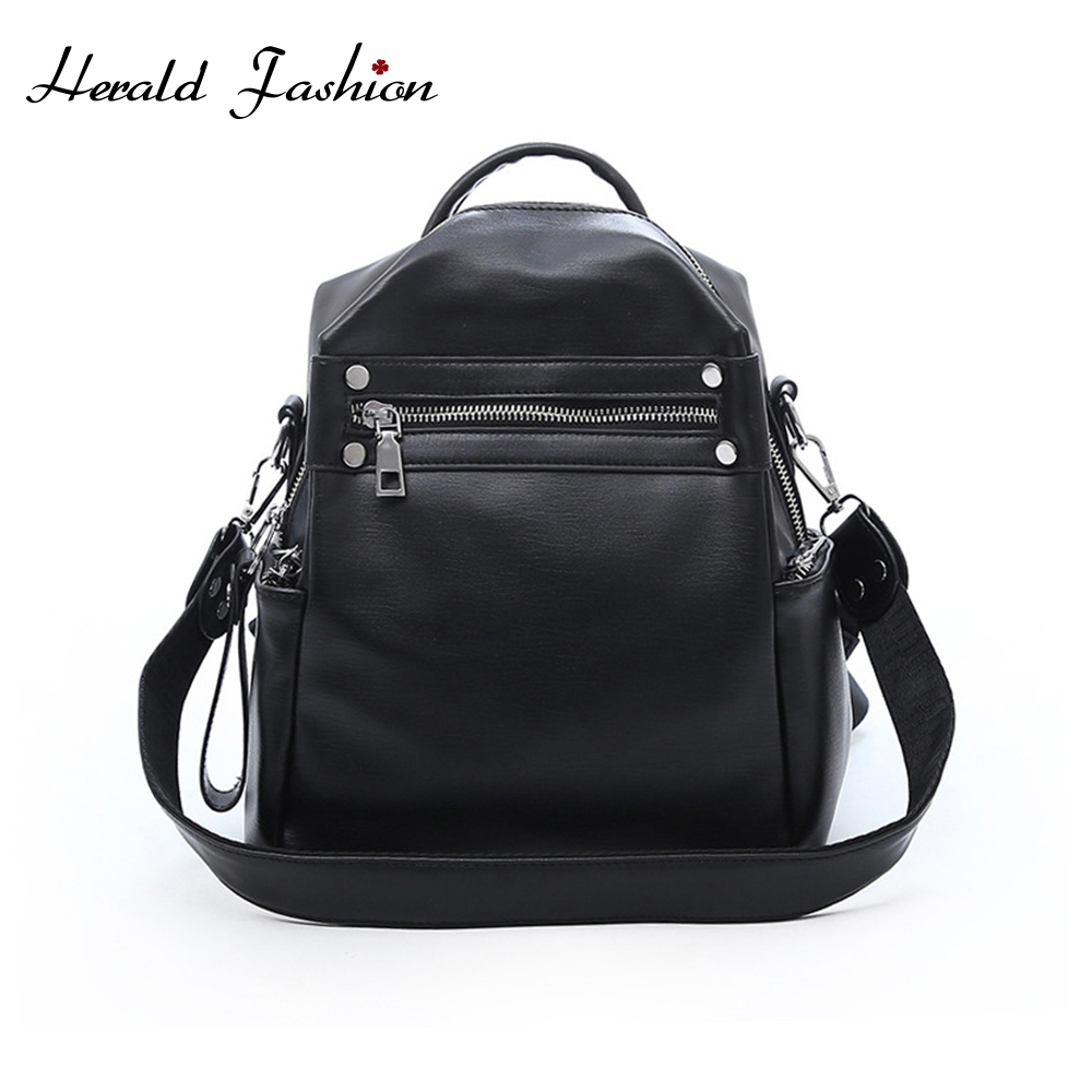 Herald Fashion Woman Backpack Leather Brands Female Backpacks High Quality Schoolbag Backpack Elegant Mochilas Escolar Feminina