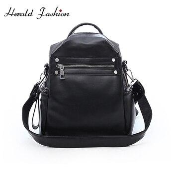 Herald Fashion Woman Backpack Leather Brands Female Backpacks High Quality Schoolbag Backpack Elegant Mochilas Escolar Feminina