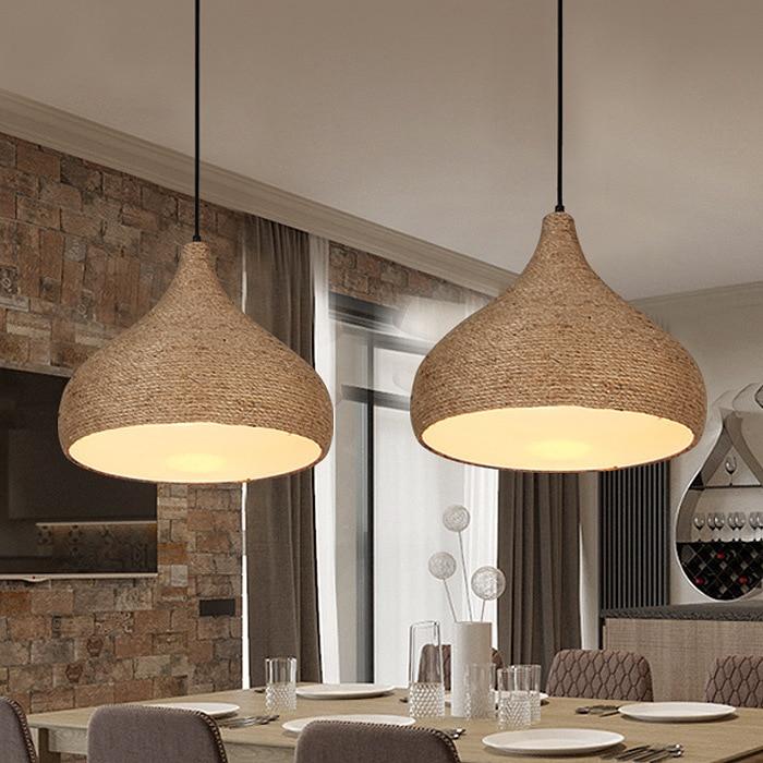 Loft Iron Rope Pendant Light Bar Kitchen Restaurant Bedroom Hanging Lighting E27 Ing deco chambre|Pendant Lights| |  - title=