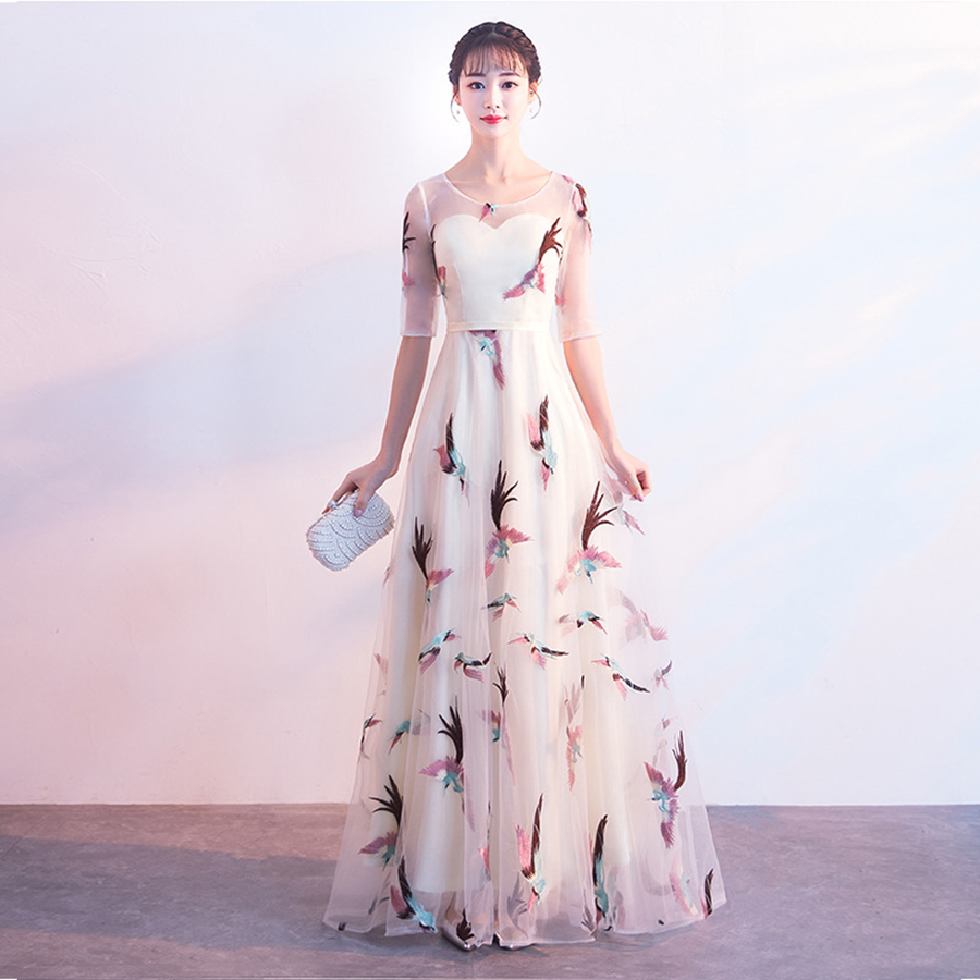 Evening Dress Embroidery Flowers Lace Women Party Dresses E421 Floor-Length Robe De Soire 2019 O-neck Half Sleeve Formal Gown