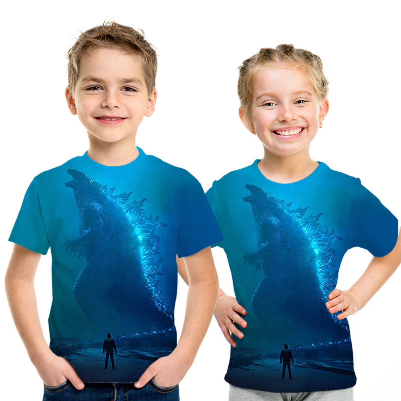 Hot Sales Godzilla King Of The Monsters 3D Print T Shirts Kids Clothes Tshirt Fashion Leisure Boys And Girls Personality T-shirt