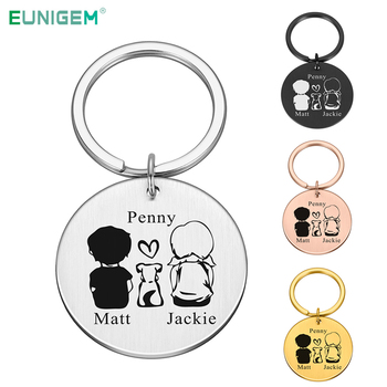 Personalized Valentines Day Gift Keychain Custom Name Key Chain Gift for Boyfriend Dog Lovers Girlfriend Couple Keychain cute cartoon style couple lovers keychain silver pair