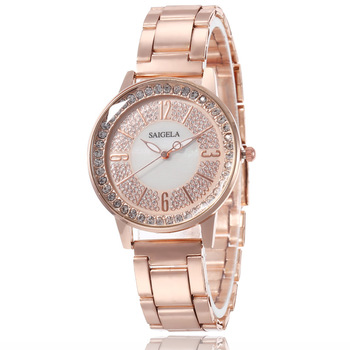 Fashion Luxury Ladies Watch Crystal Wrist Watches Women Quartz Clock Stainless Steel Band Round Dial Dress Accessories - discount item  34% OFF Women's Watches