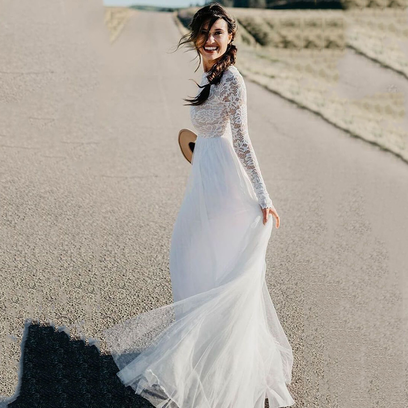 Beach Wedding Dress 2020 Modest Long Sleeve White Tulle Lace Dress Bridal Bohemian Wedding Gowns Vestidos De Novia Trouwjurk