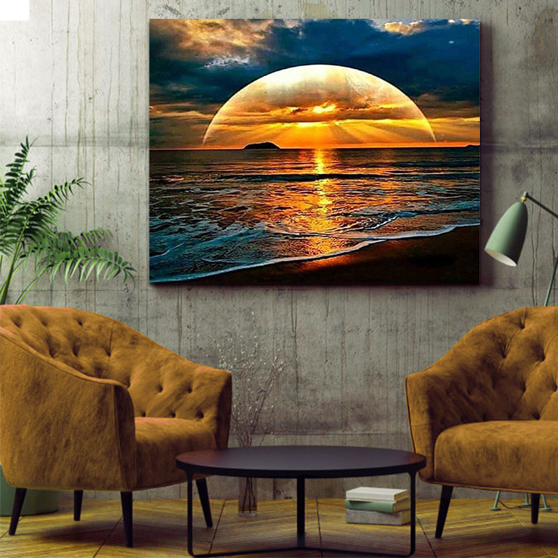 DIY Colorings Pictures By Numbers WithThe Setting Sun Sunset Picture Drawing Relief Painting By Numbers Framed Home