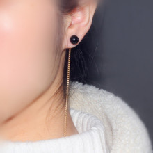Korean fashion elegant simple gold long thread tassel women's Earrings Black and white pearl earrings earrings xinhan needle fashion pearl earrings long tassel earrings women simple earrings accessories wholesale