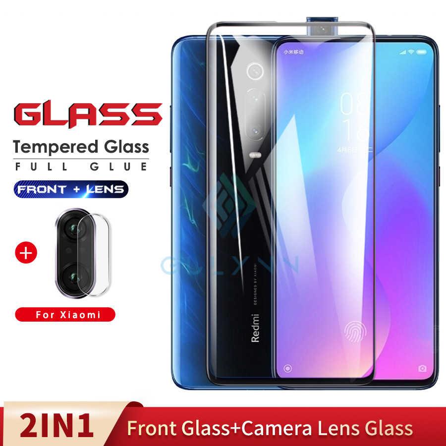 2 ใน 1 เลนส์กล้องฟิล์มกระจกนิรภัยสำหรับ Xiao Mi Pocophone F1 Mi A2 A3 Lite 9 Mi x 2 S 3 9T 9 9SE ฟิล์มกระจกนิรภัย