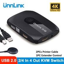 Квм-переключатель Unnlink 4K Hdmi-совместимый коммутатор USB 2,0 с удлинителем для ноутбука 2 или 4 шт. Share мышь клавиатура Монитор принтер