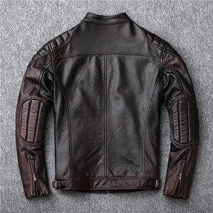 Image 5 - Bezpłatna wysyłka, marka vintage kurtka z prawdziwej skóry. Mężczyzna brązowy motor biker skóry wołowej płaszcz. slim kurtki w dużych rozmiarach. outwear sprzedaży