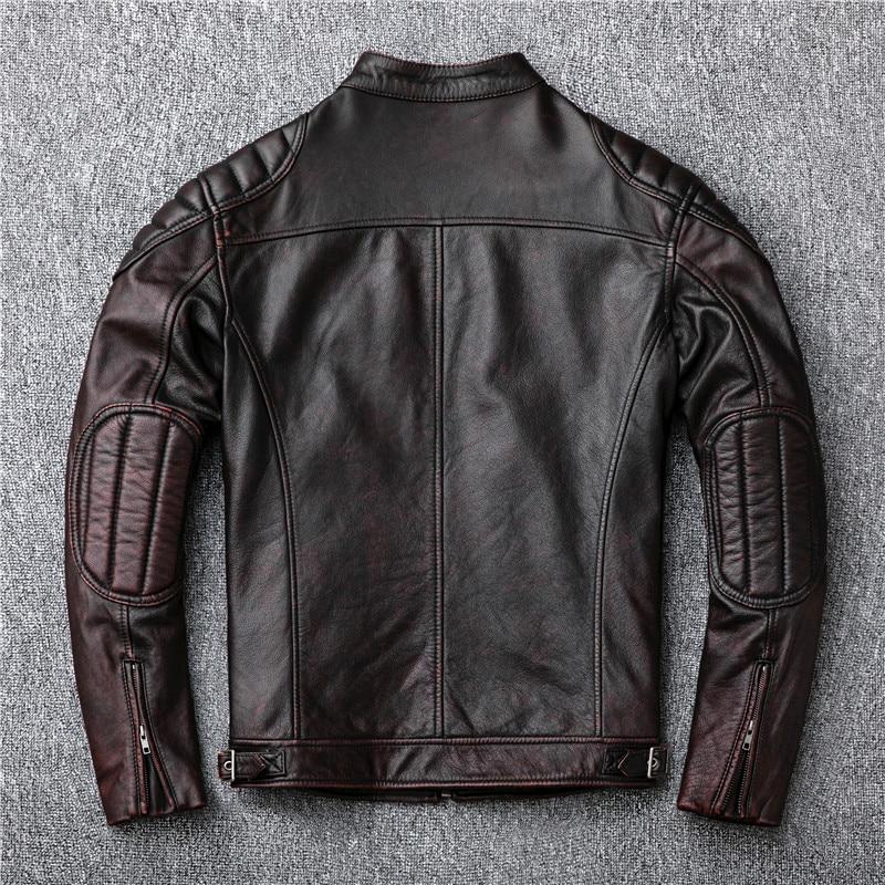 Image 5 - Free shipping,Brand vintage genuine leather jacket.mens brown motor biker cowhide coat.slim plus size jackets.outwear salesgloves militarybrand glovesgloves brand -