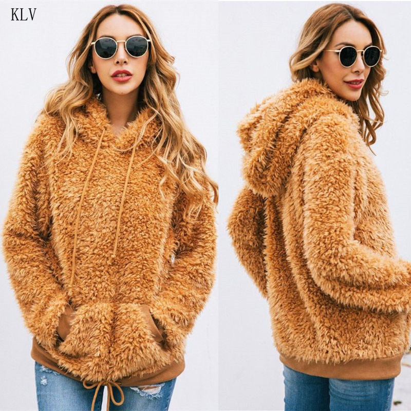 2019 Women Autumn Winter Hooded Faux Fur Fluffy Pullover Casual Long Sleeve Drawstring Hoodies Sweatshirt Outwear With Pocket