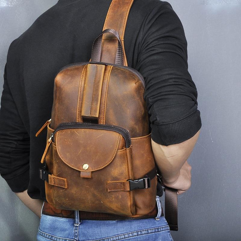 Men Original Crazy Horse Leather Casual Fashion Crossbody Chest Sling Bag Design Travel One Shoulder Bag Daypack Male 3028-db