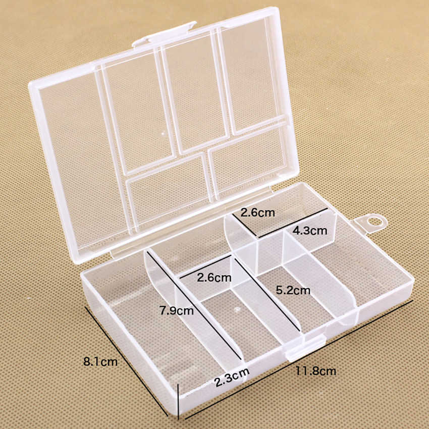 6 Grid Transparent Plastix Box Jewelry/Tools Storage Boxes Component Parts Small Hardware Container Toolbox